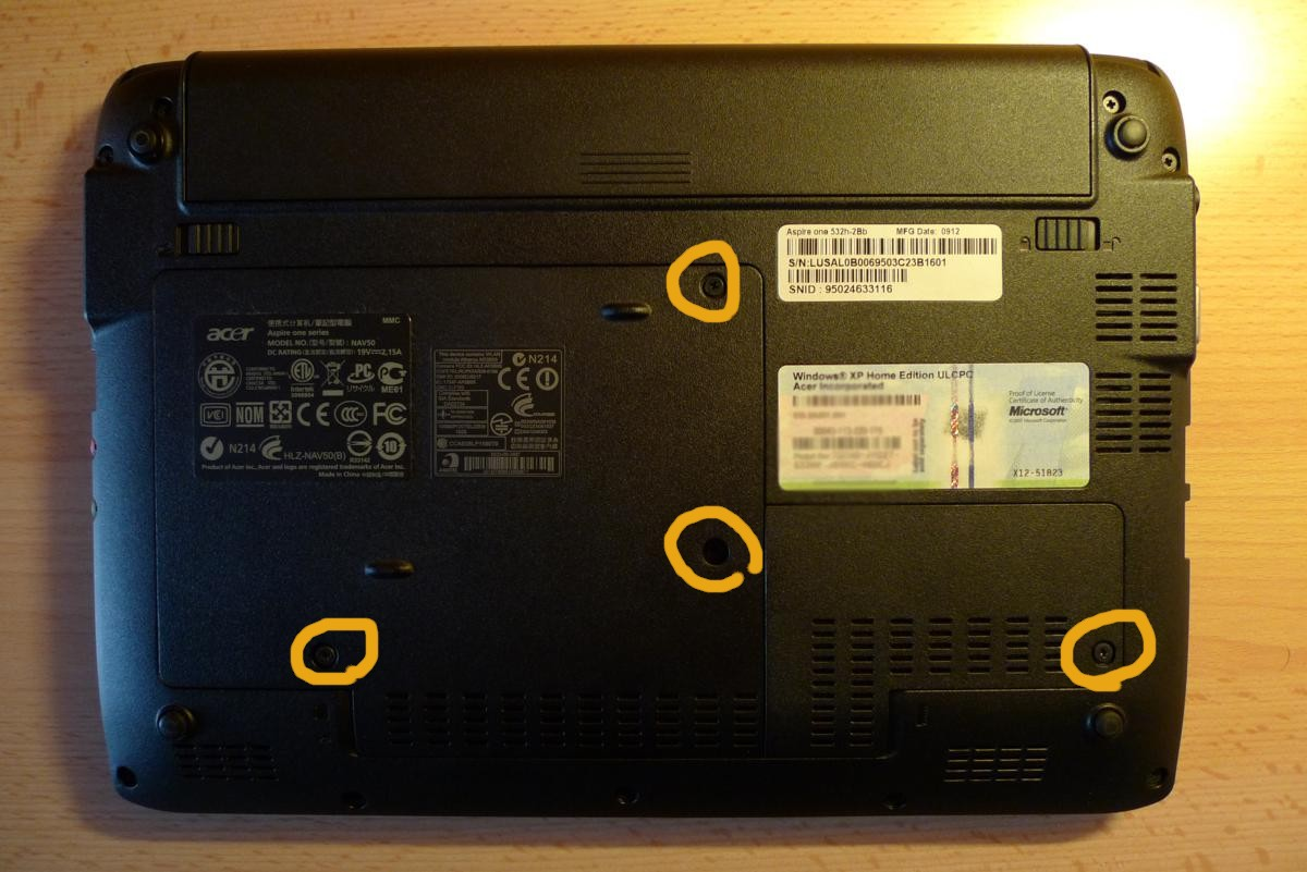 Acer Aspire One 532 H Upgrade Ram Hd Wifi Remove Lcd The