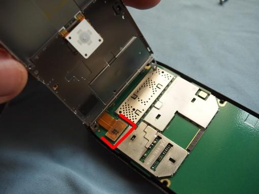 Nokia E72 Rimozione cavo flat tastiera