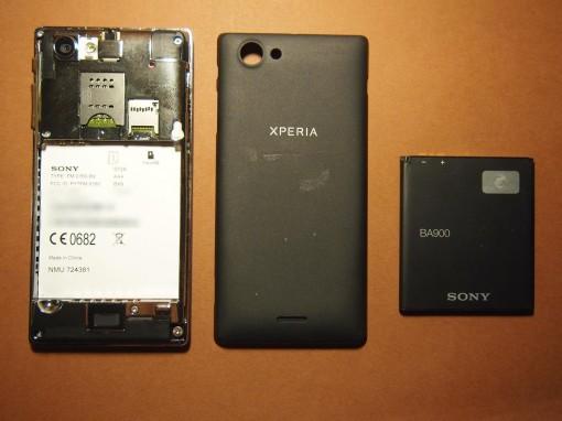 Sony Xperia J - 2 - Batteria BA900 - Copribatteria